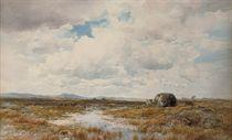 Peat cutters in an extensive Irish landscape
