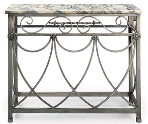 A GREY PAINTED WROUGHT-IRON CO