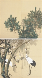 Pines; Cranes, bamboo and plum