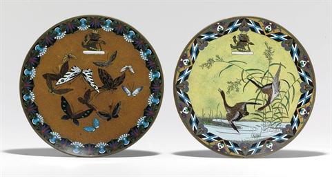 Pair of Cloisonné Enamel Plate