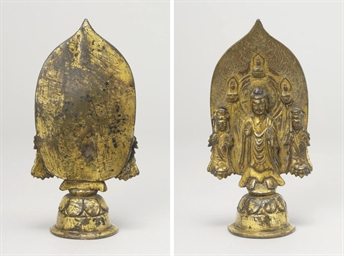 A Gilt-bronze Buddha Triad wit