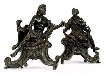 A PAIR OF FRENCH CAST IRON CHE