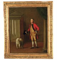 Portrait of Lt. Col. William Welby of Denton, 2nd or South Battalion, Lincolnshire Militia, High Sheriff of Lincoln (d.1792), small-full-length, his tricorn hat in his right hand and his faithful companion at his side, in an interior