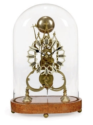 A VICTORIAN BRASS SKELETON CLO