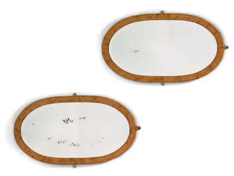A PAIR OF SATINBIRCH OVAL MIRR