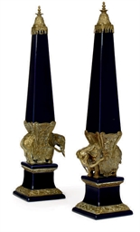 A PAIR OF BLUE GLAZED PORCELAI