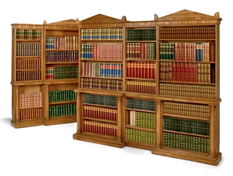 TWO SIMULATED ROSEWOOD LIBRARY