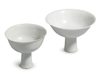 TWO WHITE-GLAZED ANHUA-DECORAT