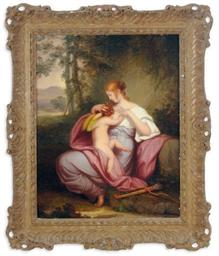Venus embracing Cupid