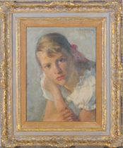 Portrait of a girl with a red bow