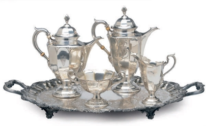 AN AMERICAN FIVE PIECE SILVER