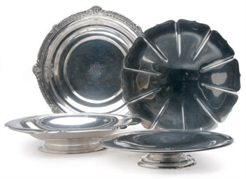 FOUR AMERICAN SILVER SERVING D