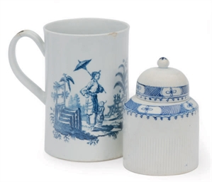AN ENGLISH PORCELAIN BLUE AND