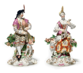 A PAIR OF ENGLISH FIGURES OF A