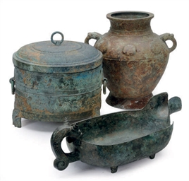 TWO CHINESE ARCHAIC BRONZE VES