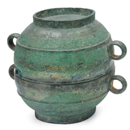 A CHINESE BRONZE ELLIPTICAL VE