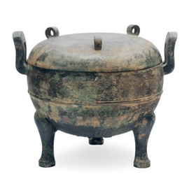 A CHINESE BRONZE DING AND COVE