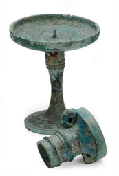 A CHINESE BRONZE AXEL CAP AND