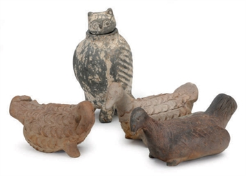 A CHINESE PAINTED-POTTERY OWL-