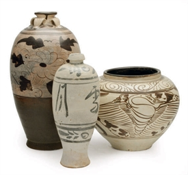 THREE CHINESE POTTERY CIZHOU T