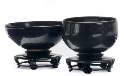 TWO SONG-STYLE BLACK-GLAZED OI