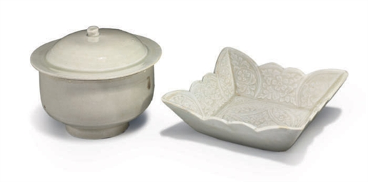 TWO CHINESE GLAZED WHITE WARE