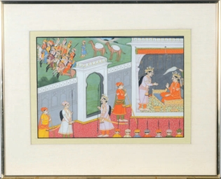 AN INDIAN PAINTING OF A COURT
