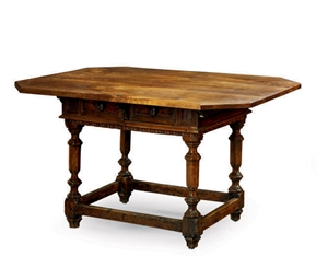 AN ITALIAN WALNUT TABLE,