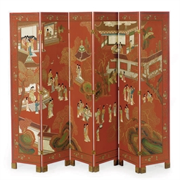 A CHINESE RED-LACQUERED AND PO