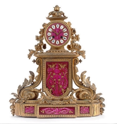 A FRENCH GILT-BRONZE AND PINK