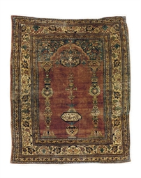 A SILK TABRIZ PRAYER RUG,