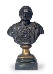 A PATINATED BRONZE BUST OF A R