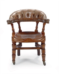 A VICTORIAN OAK AND LEATHER LI