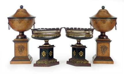 TWO PAIRS OF TOLE PEINTE URNS,