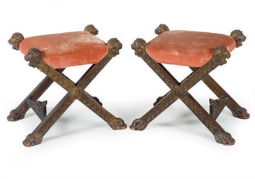 A PAIR OF ITALIAN STAINED AND