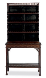 AN ENGLISH MAHOGANY ETAGERE,