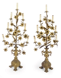 A PAIR OF GILT-METAL SEVEN-LIG
