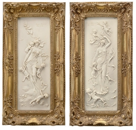 A PAIR OF FRENCH FRAMED MARBLE