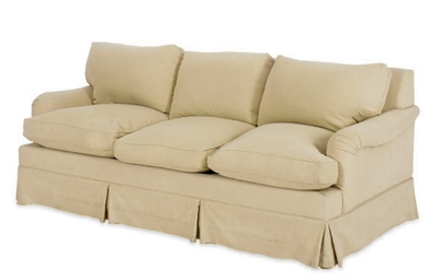 A BEIGE TWILL UPHOLSTERED THRE