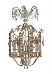 A GLASS, GILT AND SILVERED-MET