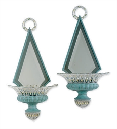A PAIR OF GREEN-PAINTED METAL,