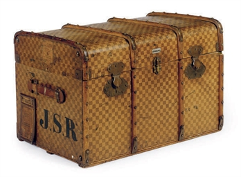 A FRENCH STEAMER TRUNK,
