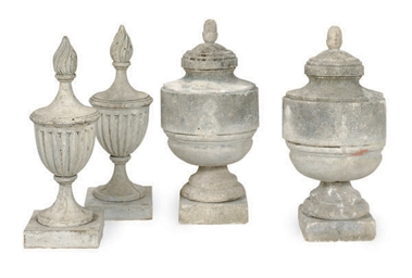 A GROUP OF GARDEN ORNAMENTS,