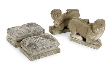 A PAIR OF STONE LIONS,