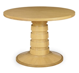 A CIRCULAR OAK COFFEE TABLE,