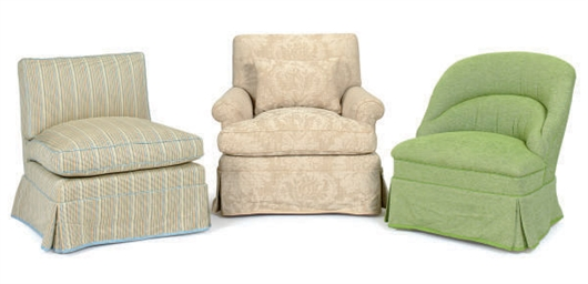 THREE UPHOLSTERED CHAIRS,