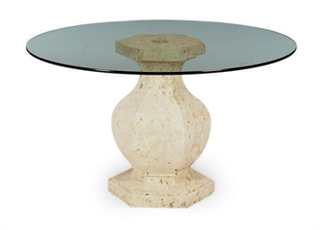 A STONE AND GLASS TOP CIRCULAR