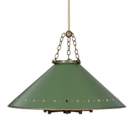 A GILT-METAL AND BRASS HANGING