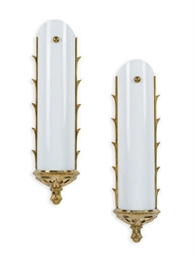 A PAIR OF BRASS AND MILK-WHITE