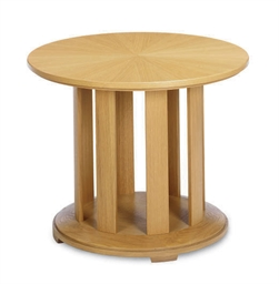 AN OAK CIRCULAR LOW TABLE,